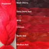 Color comparison: Pepperoni on the left and Black Cherry, Dark Cherry Red, Brick, Crimson, Rustic Red, and Medium Red from top to bottom on the right.