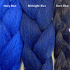 Color comparison from left to right: Navy Blue, Midnight Blue, Dark Blue