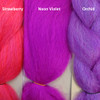 Color comparison from left to right: Strawberry, Neon Violet, Orchid