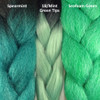 Color comparison from left to right: Spearmint Highlight Braid, 1B Off Black with Mint Green Tips Festival Braid, Seafoam Green kk jumbo braid