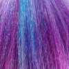 Close-up of the transition from blue to purple for Vibrant Rainbow high heat kanekalon