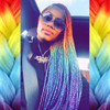Jemstyles wearing twists made from Vibrant Rainbow high heat kk