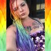 Jill wearing Rainbow high heat kanekalon braids