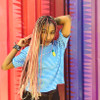 kick_roqs wearing braids in Dusty Rose, English Rose, Flesh, Rose, and 1B Off Black with Mint Green Tips, and Pastel Pink