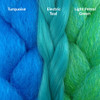 Color comparison from left to right: Turquoise, Electric Teal, Light Petrol Green