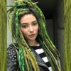 DreadNaughty LLC's synthetic dreads made from Pistachio, Emerald Green, and Lime Green
