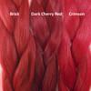 Color comparison from left to right: Brick, Dark Cherry Red, Crimson