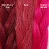 Color comparison from left to right: Dark Cherry Red, Rose, Turkish Delight