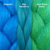 Color comparison from left to right: Turquoise, Blue Raspberry, Light Petrol Green