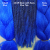 Color comparison from left to right: Cobalt Blue, 1B Off Black with Navy Blue Tips, Navy Blue