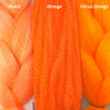 Color comparison from left to right: Peach, Orange, Citrus Orange