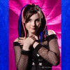 Christine wearing synthetic dreads made from Cobalt Blue, Hot Pink, and 4 Dark Brown kk jumbo braid