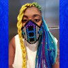 Momo Pixel wearing Yellow, Lime Green, Purple, Turquoise, Petrol Ombré, Cobalt Blue, Sky Blue, and Seafoam Ombré kk jumbo braid
