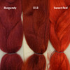 Color comparison from left to right: Burgundy, D13 Rich Auburn, and Sweet Red