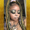 Melissa wearing braids in 144 Gold, Jungle Green, Lilac, and Olive Green