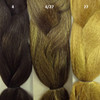 Color comparison from left to right: 4 Dark Brown, 4/27 Dark Brown/Strawberry Blond Mix, 27 Strawberry Blond