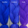 Color comparison from left to right: Navy Blue, Blueberry, Purple