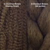 Texture comparison: 6 Chestnut Brown marley braid on the left and 6 Chestnut Brown kk jumbo braid on the right