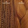 Color comparison from left to right: 30 Light Auburn marley braid, 30 Light Auburn kk jumbo braid