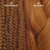 Color comparison from left to right: 30 Light Auburn marley braid, 30 Light Auburn kk jumbo braid