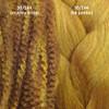 Color comparison from left to right: 30/144 Honey Moon marley braid, 30/144 Honey Moon kk jumbo braid