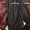 Color comparison from left to right: Red Wine, 99J Black Wine, 99J Black Wine kk jumbo braid