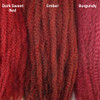 Color comparison from left to right: Dark Sweet Red, 4/RD Ember, Burgundy