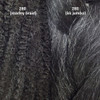 Color comparison from left to right: 280 Silvery Smoke marley braid, 280 Silvery Smoke kk jumbo braid