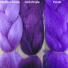 Color comparison from left to right: Medium Purple, Dark Purple, Purple