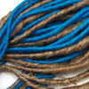 Handmade synthetic dreads made from M27/613 Mixed Blond and Turquoise kk jumbo braid.