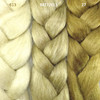 Color comparison from left to right: 613 Platinum Blond, M27/613 Mixed Blond, and 27/Strawberry Blond