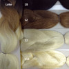 Color comparison showing Latte on the left, and from top to bottom on the right, 1B Off Black, 12 Light Brown, 22 Ash Blond, and 613 Platinum Blond