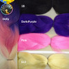 Color comparison showing Dolly on the left and 1B Off Black, Dark Purple, Pink, and 613 Platinum Blond on the right