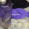 Color comparison showing Purple Smoke on the left and 1B Off Black, Medium Purple, and Solid Grey on the right