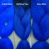 Color comparison from left to right: Cobalt Blue, 1B Off Black with Navy Blue Tips, and solid Navy Blue