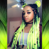 _jazzsie wearing braids in 1B Off Black with Neon Yellow Tips