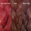 Color comparison from left to right: Dark Cherry Red, Rum, Black Cherry
