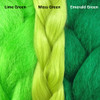 Color comparison from left to right: Lime Green, Moss Green, Emerald Green