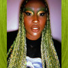 Christine wearing braids in Moss Green, Pistachio, and Pure White