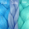 Color comparison from left to right: Polar Blue kk jumbo braid, Polar Blue Festival Braid, Sky Blue