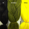 Color comparison from left to right: 1B Off Black, 1B Off Black/Yellow Mix, Yellow