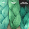 Color comparison from left to right: Aqua, Spearmint kk jumbo braid, and Spearmint Highlight Braid