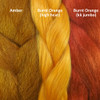 Color comparison from left to right: Amber, Burnt Orange Festival Braid, Burnt Orange kk jumbo braid