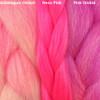 Color comparison from left to right: Bubblegum Ombré, Neon Pink, Pink Ombré