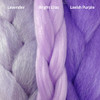 Color comparison from left to right: Lavender, Bright Lilac, Lavish Purple