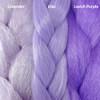 Color comparison from left to right: Lavender, Lilac, Lavish Purple