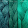 Color comparison from left to right: M.Blue Tropics, Ocean Green, Caribbean Sea