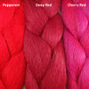 Color comparison from left to right: Pepperoni, Deep Red, Cherry Red