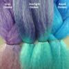 Color comparison from left to right: Violet Ombré, Starlight Ombré, Blue Ombré
