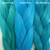 Color comparison from left to right: Electric Teal, Bright Blue, Blue Raspberry